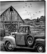 Old Truck At The Barn Bordered Black And White Canvas Print