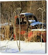 Old Truck In Winter Snow In Hope Alaska Canvas Print