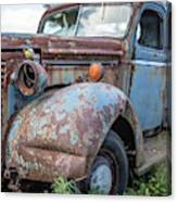 Old Vintage Blue Pickup Truck Among The Weeds Canvas Print