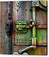 Old Weathered Railroad Boxcar Door Canvas Print