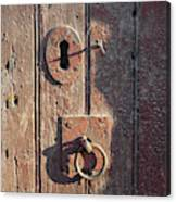 Old Wooden Door And Keyhole Canvas Print