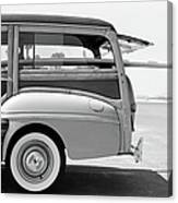 Old Woodie Station Wagon With Surfboard Canvas Print