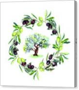 Olives Branches Wreath With Olive Tree Canvas Print