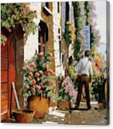 Omino Sulla Bella Strada Canvas Print