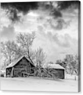 On A Winter Day Monochrome Canvas Print
