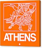 Orange Map Of Athens Canvas Print