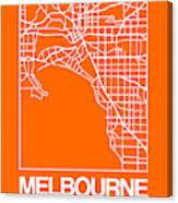 Orange Map Of Melbourne Canvas Print