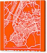 Orange Map Of New York Canvas Print