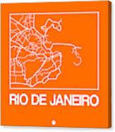 Orange Map Of Rio De Janeiro Canvas Print
