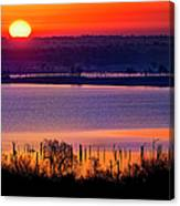 Orange Sunrise On Benbrook Lake Canvas Print