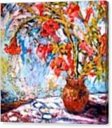 Orange Trumpet Flowers Canvas Print