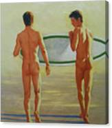 Original  Man Body Oil Painting  Gay Art -two Male Nude By The Sea#16-2-3-02 Canvas Print