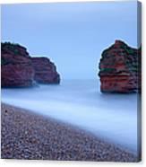 Otterton Sandstone Cliffs And Seastack Canvas Print