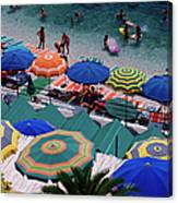Overhead Of Umbrellas At Private Canvas Print