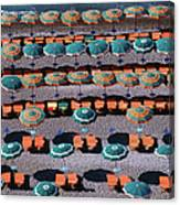 Overhead Of Umbrellas, Deck Chairs On Canvas Print