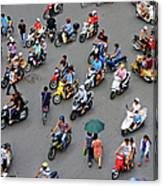 Overhead View Of Motorbike Traffic Canvas Print