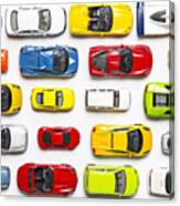 Overhead View On Colorful Car Toys Canvas Print