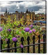 Overlooking The Train Station In Edinburgh Canvas Print