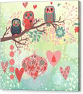 Owls On The Branch In Leafs And Hearts Canvas Print