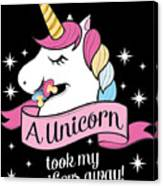 Pacifier Fairy Gift Idea Unicorn Took My Paci Away Canvas Print