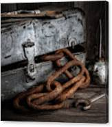 Painted Toolbox And Chain Canvas Print