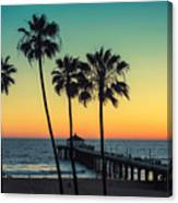 Palm Trees At Manhattan Beach. Vintage Canvas Print