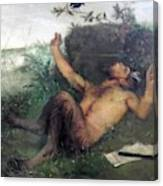 Pan Whistling At A Blackbird 1863 Canvas Print