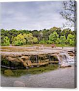 Panorama Of Link Falls At Upper Bull Creek District Greenbelt Park - Austin Texas Hill Country Canvas Print
