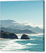 Panoramic Shot Of Cannon Beach, Oregon Canvas Print