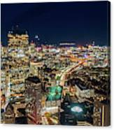 Panoramic View Of The Boston Night Life Canvas Print