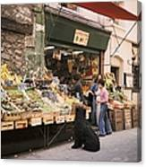 Paris, Fruit And Vegetable Shop In The Canvas Print