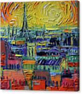 Paris Rooftops View From Centre Pompidou - Textural Impressionist Stylized Cityscape Mona Edulesco Canvas Print