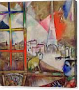 Paris Through The Window - Paris Par La Fenetre, 1913 Canvas Print