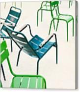 Parisian Metallic Chairs In The City Canvas Print