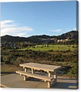 Park Bench In Malibu Canvas Print