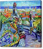 Park Guell Enchanted Visitors - Impasto Palette Knife Stylized Cityscape Canvas Print