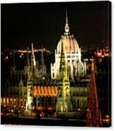 Parliament Building Lit Up At Night Canvas Print