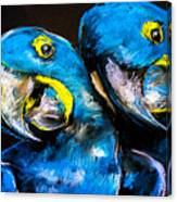Pastel Painting Of A Blue Parrots On A Canvas Print