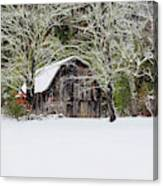 Patriotic Barn In The Snow Canvas Print
