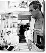 Paul Newman On A Fishing Boat Canvas Print