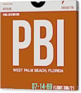 Pbi West Palm Beach Luggage Tag II Canvas Print
