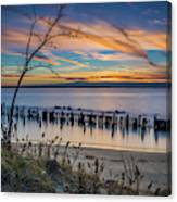Peaceful Sunset At Sandy Hook Canvas Print