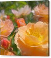 Peach Yellow Roses Canvas Print