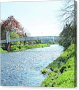 pedestrian bridge over river Tweed at Peebles Canvas Print