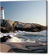 Peggys Cove Lighthouse & Waves Canvas Print