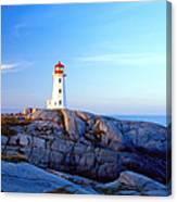 Peggys Cove Lighthouse At Sunrise Canvas Print