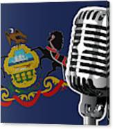 Pennsylvania Flag And Microphone Canvas Print