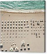 People At Beach, Using Rows Of Beach Canvas Print