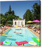 People Enjoying Summer Around The Pool Canvas Print