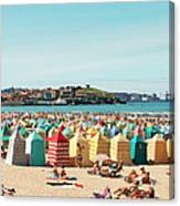 People Relaxing On Gijón Beach Canvas Print